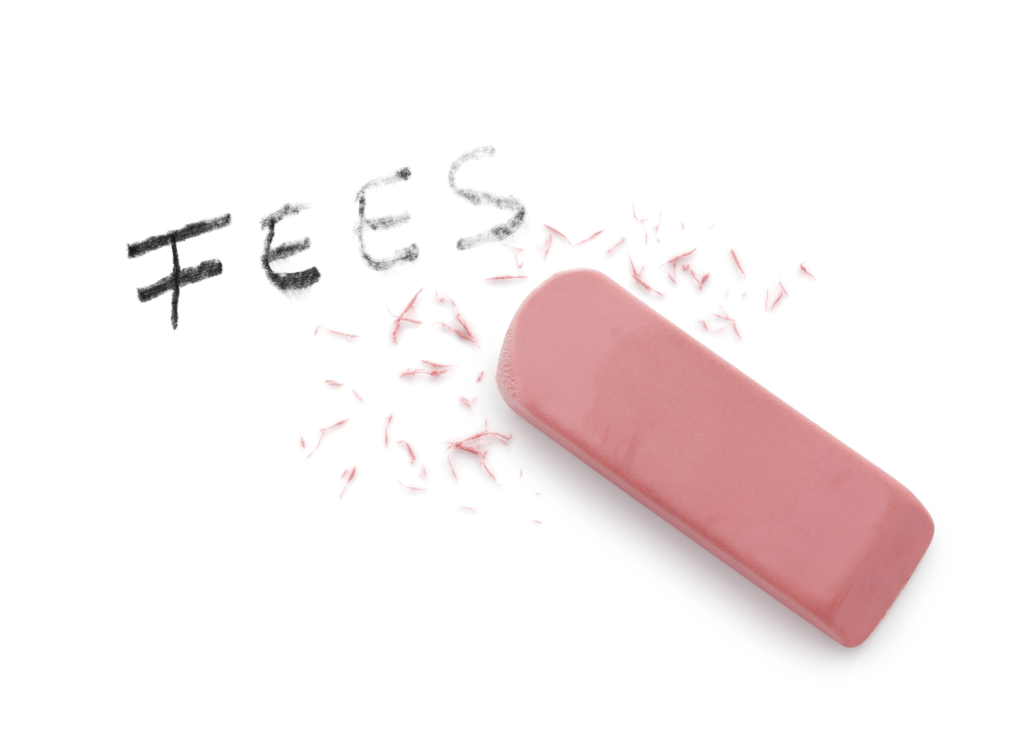 New letting fees cap for tenants leaving rented homes - Image showing an eraser rubbing out the word fees
